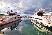 Saint Tropez. Luxury yachting harbor of Saint Tropez at Cote d Azur view