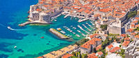 Dubrovnik. Aerial panoramic view of Dubrovnik harbor
