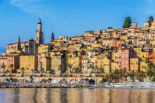 Old town architecture of Menton on French Riviera.
