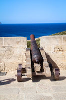 A medieval cannon at a harbor basin