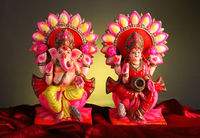 Beautifully Decorated Lord Ganesha and Goddess Laxmi Idols / Statue