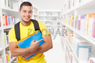 Student education showing pointing marketing ad advert young man people copyspace copy space library