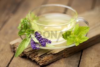 Teeglas mit frischen Kräutern