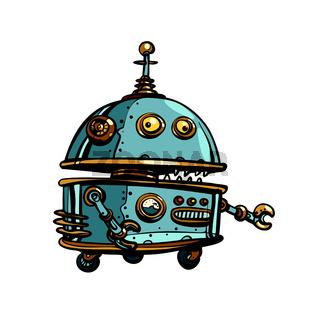 Funny round robot, pop art retro cyberpunk