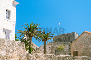 Fortress wall of the Old Town of Budva - Montenegro. The citadel from the old fortress of the harbor