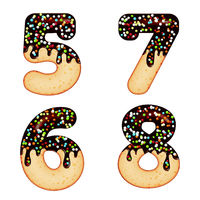 Tempting typography. Font design. 3D donut numbers five, six, seven, eight,  glazed with chocolate cream and candy