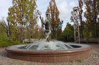 Autumn mood in the spa park - fountain Playing Neptune
