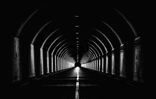 Dramatic Black White Monochrome Highway Tunnel Night Time Light Shapes Dark Abstract