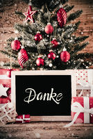 Christmas Tree, Gifts, Snowflakes, Danke Means Thank You