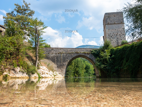 old stone bridge at Frasassi Marche Italy