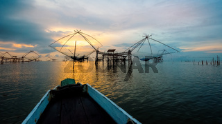 Rural lifestyle at Pakpra canal during sunrise in Thailand