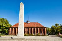 Obelisk in front of Klubhaus der Eisenbahner, Kirchmoeser, Brandenburg, Germany