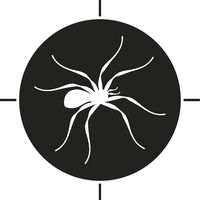 Spider icon over target. Simple and flat illustration in black and white. Isolated.