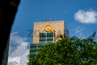 Hydro-Quebec sign on headquarter building exterior wall, Montreal