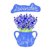 Lavender flowers in a vase. Lettering lavender