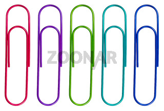 Isolated Multicolored Paperclips
