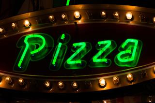 Pizza Neon Sign Green Glow Light Bulb Warm Contrast Food