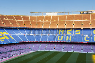 Inside Camp Nou - home stadium of FC Barcelona is the largest stadium in Spain and Europe