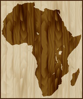Africa map on wood background
