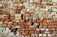 Brick wall of red brick with strong structure