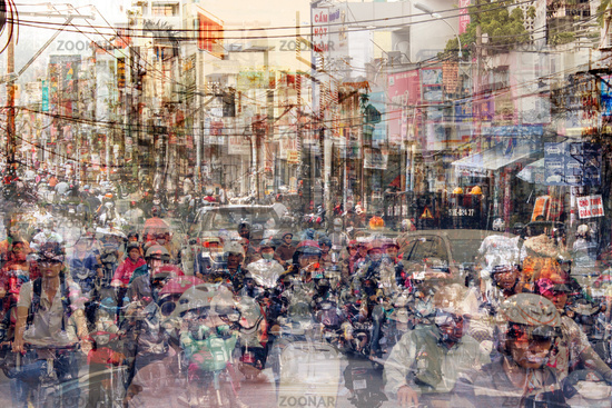 abstract city life and road traffic concept - street scene double exposure