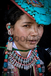 Portrait of girl on festival in LAdakh