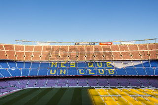 Inside Camp Nou - home stadium of FC Barcelona, largest stadium in Spain and Europe