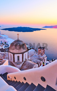 View of Thira town at sundown