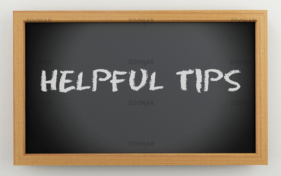 3d chalkboard with helpful tips text