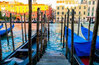 Gondolas at Grand Canal in Venice