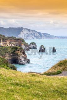 sea shore rocks and mount Taranaki, New Zealand