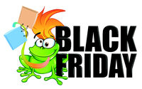 fun  frog with bag   cartoon character mascot. black friday text