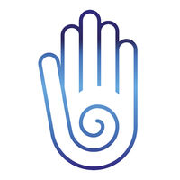 Peace hand icon with spiral in blue shades.