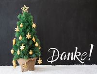 Christmas Tree, Black Background, Snow, Danke Means Thank You
