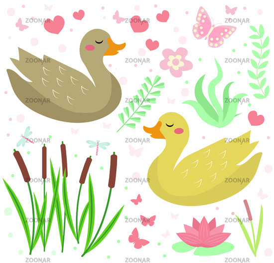 Cute duck set objects. Collection design elements with reeds, water lily, flowers, plants. Kids baby clip art funny smiling animal. Vector illustration.