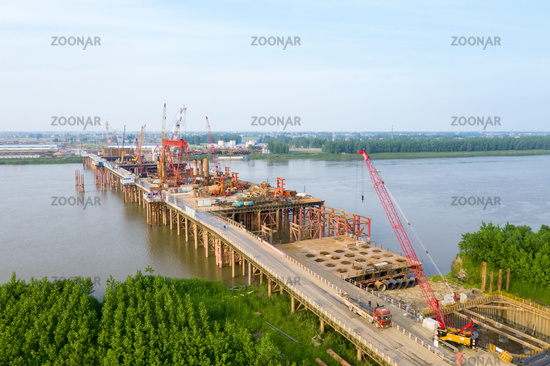 bridge construction site on yangtze river
