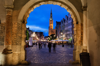 Nighfall in Old Town of Gdansk