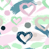 Abstract seamless elements hipster pattern with brush strokes, heart