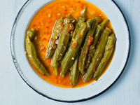 rustic greek mediterranean stewed okra