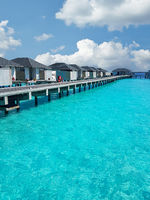 Cottages on a jetty in the Indian Ocean near the Maldives