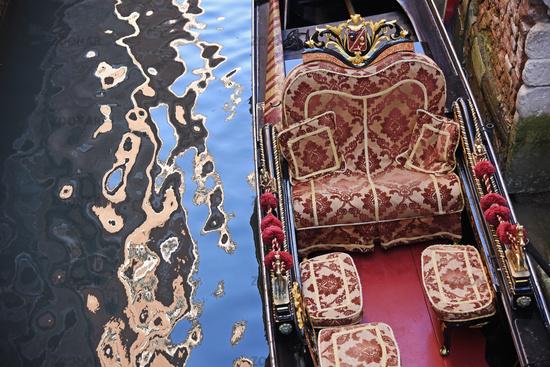empty gondola, ornaments, water reflections, Venice, Italy, Europe