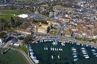 Morges Castle and marina at Lake Geneva, Morges, Vaud, Switzerland