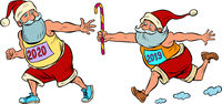 Sports relay. Santa Claus old 2019 and new 2020..Christmas and New year