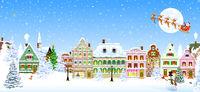 Houses snowflake winter night Santa Claus Christmas