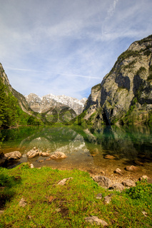 Lake Obersee with Mountain Reflection in Summer Bavaria Germany