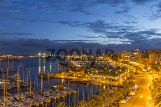 PALMA DE MALLORCA, SPAIN - NOVEMBER 19, 2018: Evening view of Palma de Mallorca
