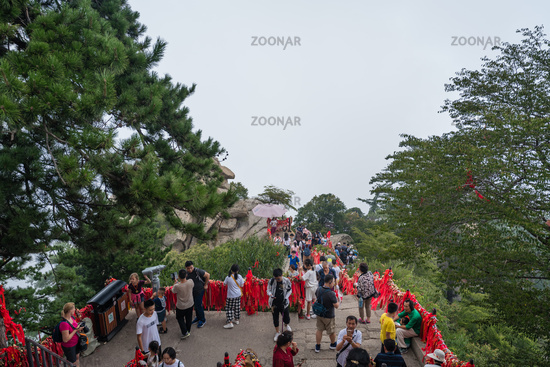 Tourists on scenic lookout in Huashan mountain
