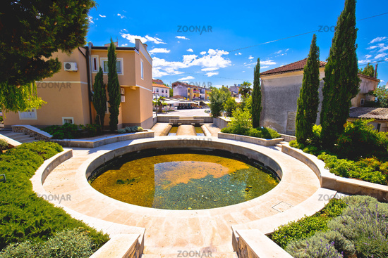Krk island, Town of Malinska fountain and Riva waterfront view