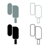 Eearphone plug icon outline set grey black color