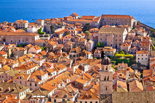 Dubrovnik old center rooftops view from city walls
